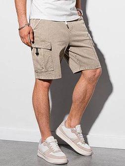 Krótkie spodenki męskie dresowe W292 - jasnobeżowe