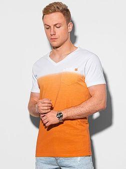 T-shirt męski bawełniany S1380 - pomarańczowy
