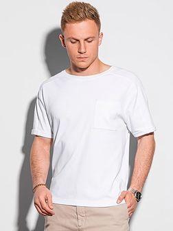 T-shirt męski bawełniany S1386 - biały