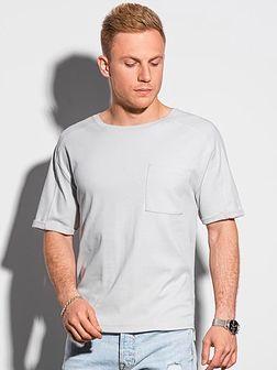 T-shirt męski bawełniany S1386 - jasnoszary