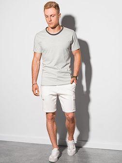 T-shirt męski bawełniany S1385 - jasnoszary