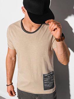 T-shirt męski bawełniany S1383 - beżowy