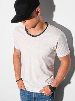 T-shirt męski bawełniany S1385 - biały