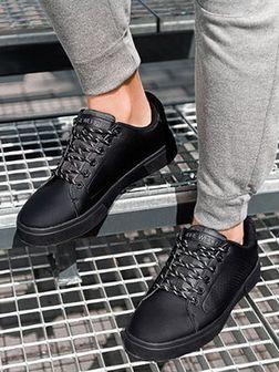 Klasyczne męskie buty sportowe T384 - czarne