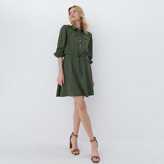 Mohito - Koszulowa sukienka z lyocellu - Khaki