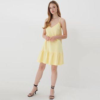 Mohito - Sukienka z falbaną Eco Aware - Żółty