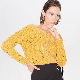 Szenilowy sweter z ażurowym wzorem