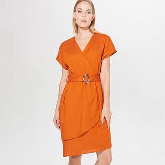 Kopertowa sukienka z lnem