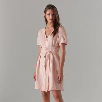 Lniana sukienka na guziki