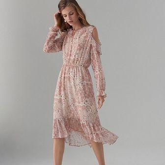 Sukienka open shoulder we wzór paisley