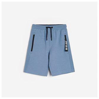 Reserved - Bawełniane szorty z kieszeniami - Niebieski