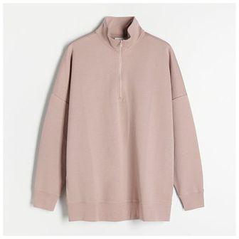 Reserved - Bluza z rozpinaną stójką - Różowy