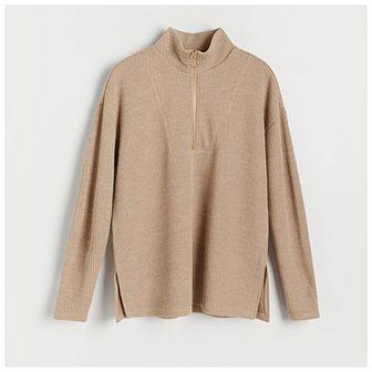 Reserved - Bluza z prążkowanej dzianiny - Beżowy