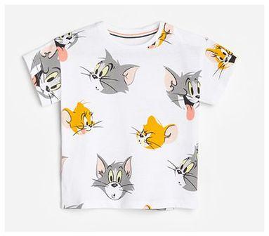 Reserved - T-shirt z nadrukiem Tom i Jerry - Biały