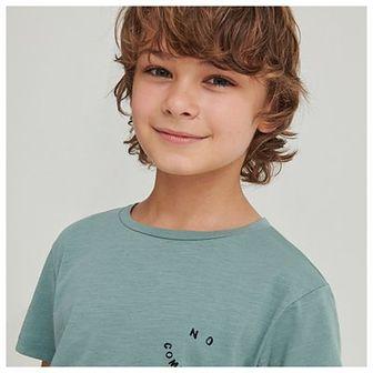 Reserved - Bawełniany t-shirt z napisami - Turkusowy