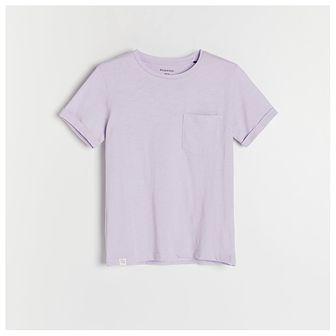 Reserved - Melanżowy t-shirt z kieszonką - Fioletowy