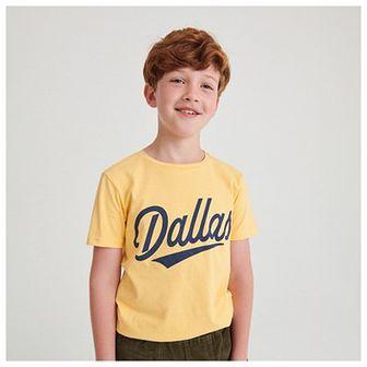 Reserved - Bawełniany t-shirt z napisem - Beżowy