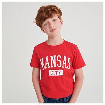 Reserved - Bawełniany t-shirt z napisem - Czerwony