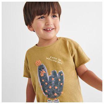 Reserved - Bawełniany t-shirt z haftem i nadrukiem - Brązowy