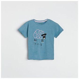 Reserved - T-shirt z aplikacją - Niebieski