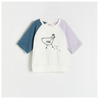 Reserved - Bawełniany t-shirt oversize - Kremowy