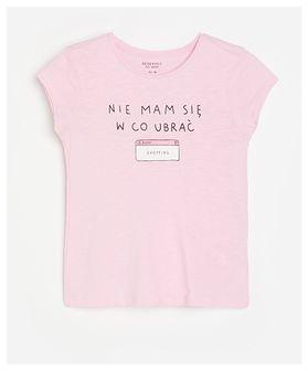 Reserved - Bawełniany t-shirt z napisem - Różowy