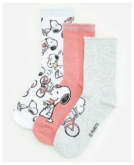 Reserved - Skarpety ze wzorem Snoopy 3 pack - Różowy