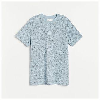 Reserved - T-shirt z nadrukiem w rowery - Niebieski