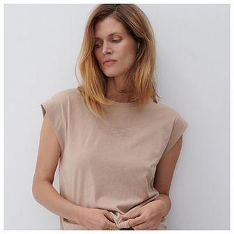 Reserved - T-shirt z bawełny organicznej - Beżowy