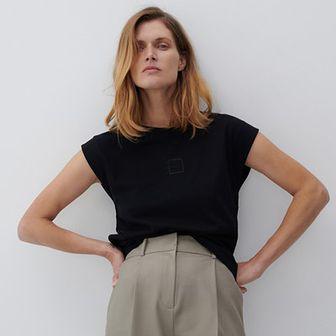 Reserved - T-shirt z bawełny organicznej - Czarny