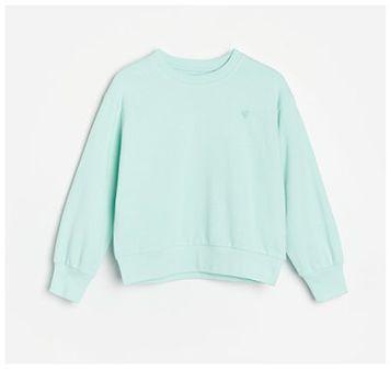 Reserved - Bawełniana bluza z haftem - Turkusowy
