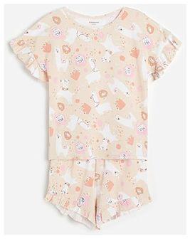 Reserved - Bawełniana piżama z nadrukiem - Kremowy