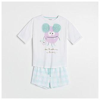 Reserved - Dwuczęściowa piżama z nadrukiem i aplikacją - Biały