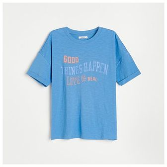Reserved - Bawełniany t-shirt z nadrukiem - Niebieski