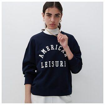 Reserved - Bawełniana bluza z nadrukiem - Granatowy