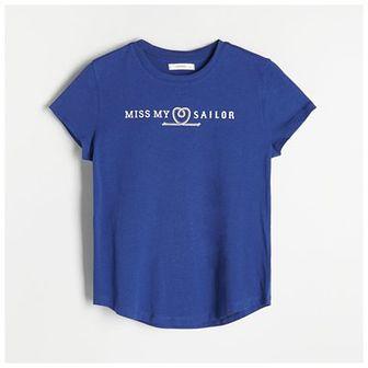 Reserved - Bawełniany t-shirt - Niebieski