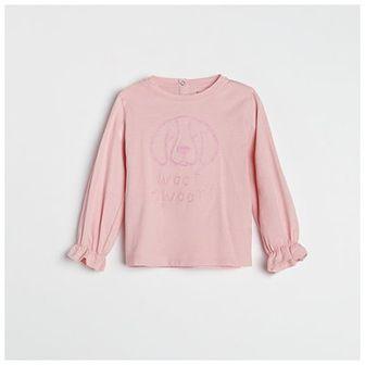 Reserved - Bluzka z wyszywaną aplikacją - Różowy