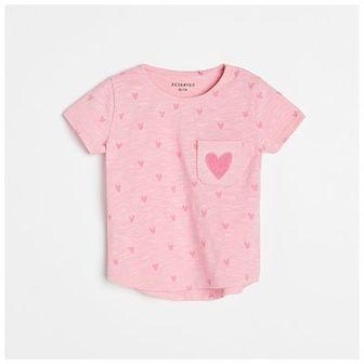 Reserved - T-shirt z aplikacją - Różowy
