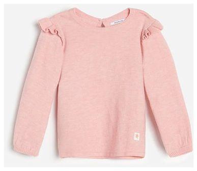 Reserved - Sweter z falbaną przy rękawach - Różowy