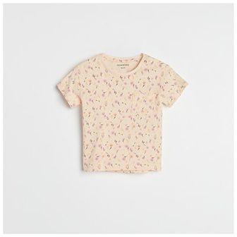Reserved - T-shirt z kieszonką - Kremowy