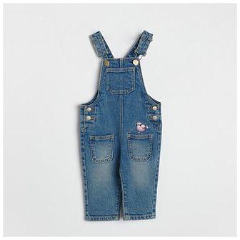 Reserved - Jeansowe ogrodniczki z haftem - Niebieski