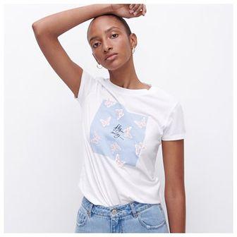 Reserved - Bawełniany T-shirt - Biały