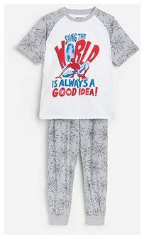 Reserved - Bawełniana piżama ze spodniami Spider-Man - Jasny szary