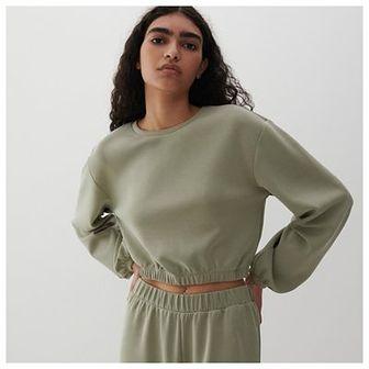 Reserved - Gładka dzianinowa bluza - Khaki
