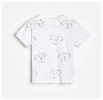 Reserved - Bawełniany T-shirt - Kremowy