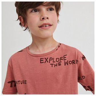 Reserved - Bawełniany t-shirt z napisami - Różowy