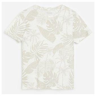 Reserved - Bawełniany t-shirt z motywem roślinnym - Kremowy