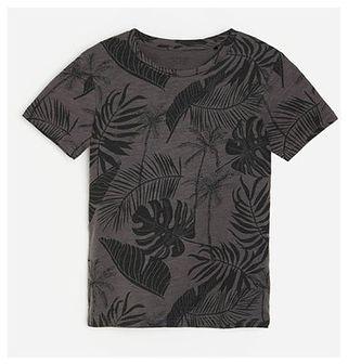 Reserved - Bawełniany t-shirt z motywem roślinnym - Szary