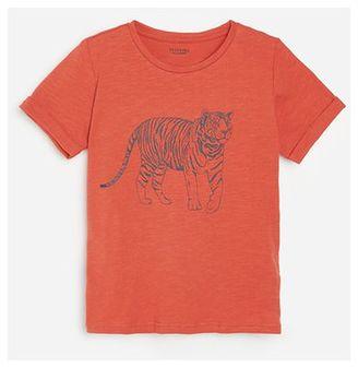 Reserved - Bawełniany t-shirt z nadrukiem - Czerwony