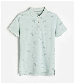 Reserved - Bawełniania koszulka polo - Niebieski